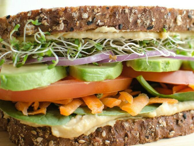 Veggie Hummus Sandwich Healthy Recipe