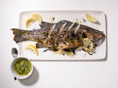 Whole Striped Bass with Lemon and Mint Healthy Recipe