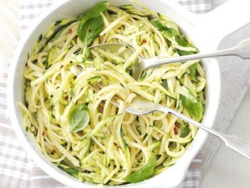Zucchini Pasta in a Lemon Cream Sauce Healthy Recipe
