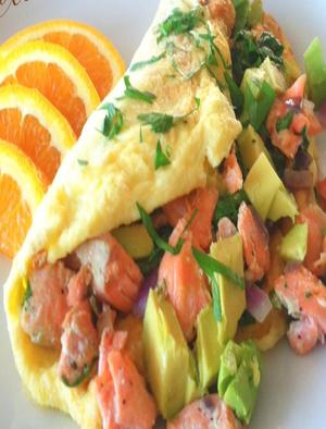 Avocado & Smoked Salmon Omelet Healthy Recipe
