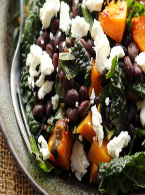 Butternut Squash and Black Bean Kale Salad Healthy Recipe