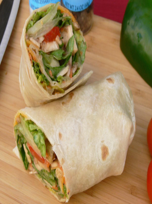 Chicken and Veggie Lunch Wrap Healthy Recipe