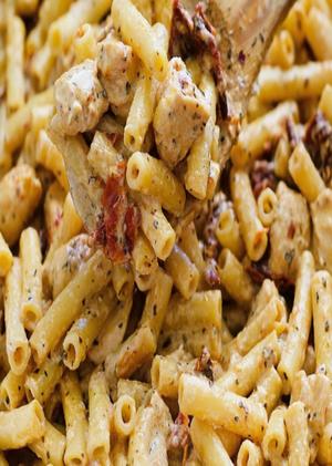 Chicken Mozzarella Pasta with Sun-Dried Tomatoes Healthy Recipe