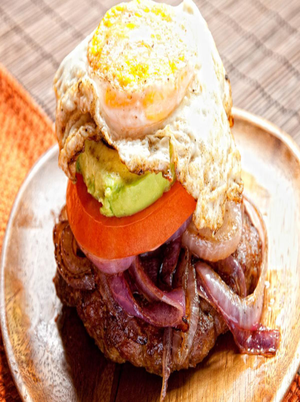 Chorizo Burgers with Fried Eggs and Onions Healthy Recipe