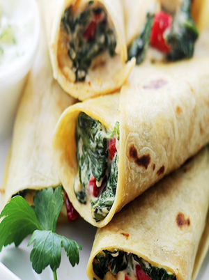 Egg White Spinach Feta Wrap Healthy Recipe