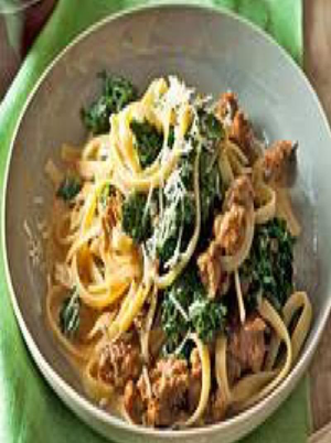 Fettuccine with Sausage and Kale Healthy Recipe