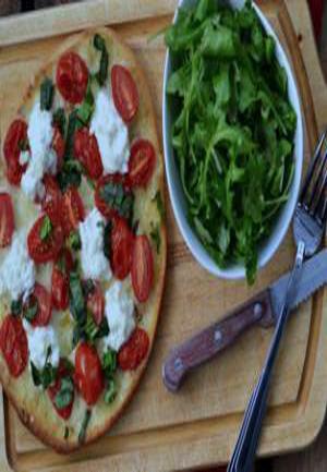 Grape Tomato, Basil, and Ricotta Flatbread Pizza Healthy Recipe