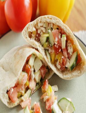 Greek Salad Pita Sandwiches Healthy Recipe