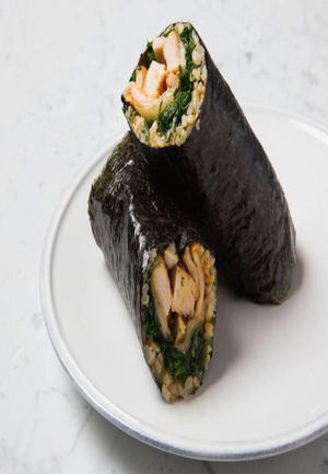 Kimchi, Brown Rice, and Grilled Chicken Nori Wrap Healthy Recipe