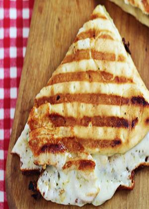 Mozzarella and Hummus on MultiGrain Flatbread Healthy Recipe