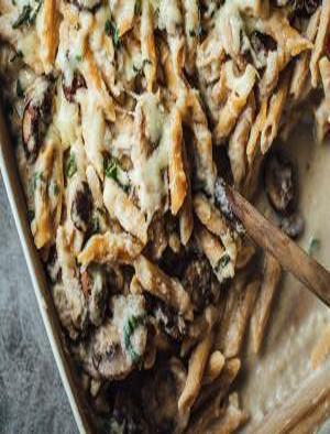 Mushroom Alfredo Pasta Bake Healthy Recipe