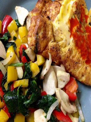 Omelet with Cheese and Spinach Healthy Recipe