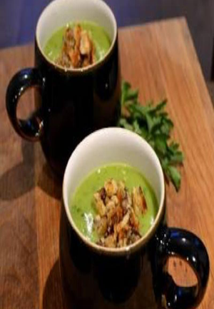 Pea, Potato & Parsley Soup With Blue Cheese Breadcrumbs Healthy Recipe