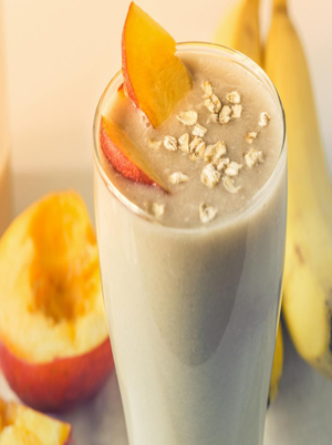 Peach and Oat Yogurt Smoothie Healthy Recipe