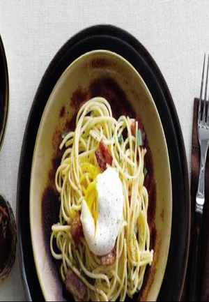 Peppery Pasta Carbonara with Poached Egg Healthy Recipe
