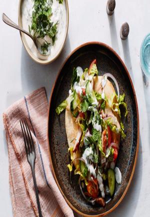 Shawarma-Spiced Chicken Pita with Tahini Yogurt Sauce Healthy Recipe