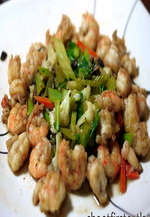 Shrimp with Cauliflower and Bok Choy Healthy Recipe