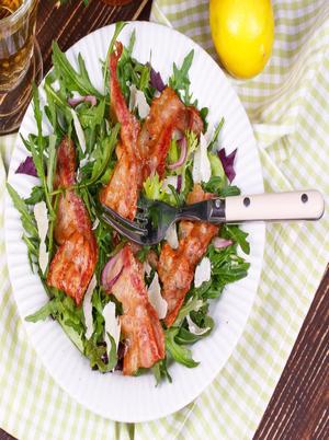 Simple Arugula and Bacon Bits Salad Healthy Recipe