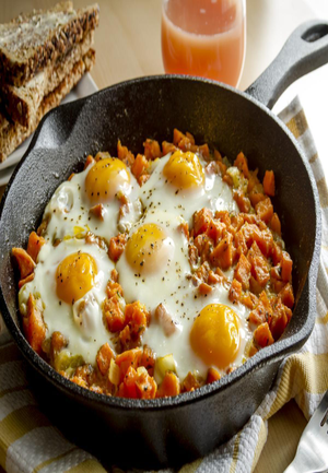Spiced Sweet Potato and Goat Cheese Egg Skillet Healthy Recipe