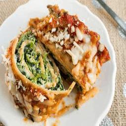 Cheesy Spinach and Mushroom Lasagna Rolls