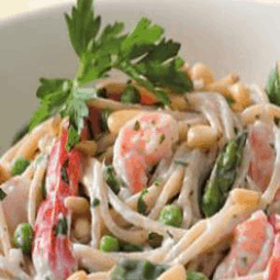 Creamy Garlic Pasta with Shrimp and Vegetables