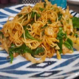 Kohlrabi, Spinach, and Egg Noodles