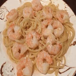 Lemon Zest Shrimp Over Spaghetti