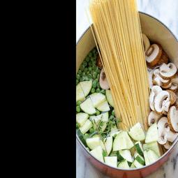 One Pot Shrimp and Veggie Pesto Pasta