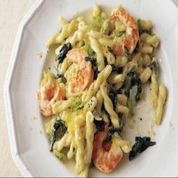 Shrimp, Leek, and Spinach Pasta